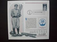 USPS #2046 Babe Ruth FDC Souvenir Cancellation Sheet...Yankees Champions Page