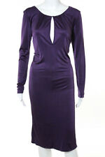 Alberta Ferretti Iced Purple Long Sleeve Key Hole Neck Stretch Knit Dress Size 4