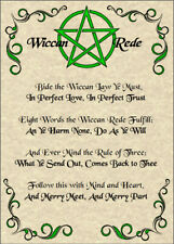 Wiccan Rede Poster 5x7 Wicca Pagan New Age Goth Witch Spirit Pentacle Goth Magic