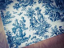 Turquoise Toile de Jouy LINEN - Cotton Fabric. Price per 1/2 metre