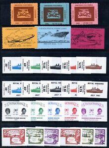 Weeda Canada B1//V12 VF MNH lot of 7 sets, Locals/Strike/Courier labels CV $93+
