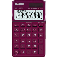 Casio SL-1100TV-RD-s Electronic Calculator 10-Digit BIG LCD Twin BORDEAUX RED
