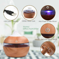 USB 300ML Electric Essential Aroma Diffuser Humidifier Air Purifier LED Wood CN