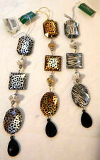 Set Of 3 Animal Spots/Stripes Stones Dangling Ornaments - C6662