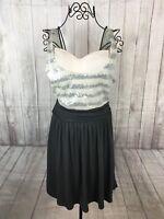 Express Women's Beige Gray Sequin Sleeveless Tank Dress A Line Striped Size 8