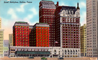 Vintage C. 1940's Downtown View Adolphus Hotel Dallas Texas Postcard Cars Shops