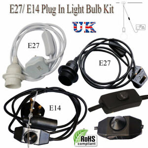 Rubber kit Plug In Pendant Lamp Light Set E27 Fitting Vintage Bulb UK Stock
