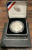2014 P National Baseball Hall of Fame 90% Silver Proof Dollar US Mint  Box COA