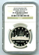 1935 2010 CANADA $1 VOYAGEUR SILVER PROOF NGC PF70 OBVERSE DESIGN FIRST DOLLAR