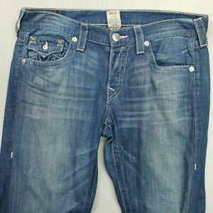 True Religion CAMERON Womens LIGHT DENIM Jeans Mid Rise W34 L33 SLIM Straight