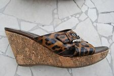 Leopard Patent Leather BRIGHTON Criss Cross Strap Wedge Heels w/Buckle 8 M