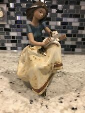 "Lladro Spain ""Repose"" Caressing A Cat / Gres finish/ Mint Retired #2169"