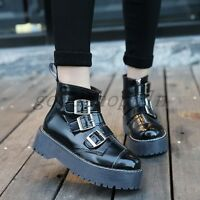 Womens Gothic Punk Round Toe Platform Zip Buckle Ankle Boots Retro Creeper Shoes