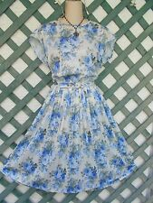 WHITE BLUE FLORAL BELTED PLEATED TEA DRESS M/L CAREER CHURCH PARTY WEDDING