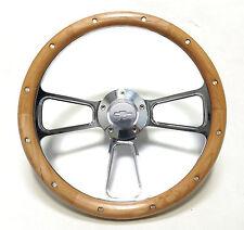"""1968 -1982 Corvette 14""""  Steering Wheel Kit, Alderwood & Billet with Chevy Horn"""
