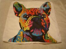 "NWOT  Rayon Colorful French Bulldog 18"" Pillow cover with invisible zipper"