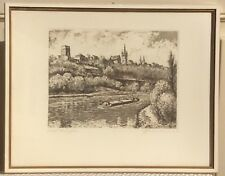 Vintage ETCHING PICTURE of BAD WIMPFEN GERMANY Artist SIGNED and FRAMED