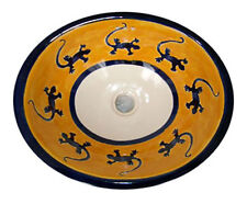 #023 LARGE BATHROOM SINK 21X17 MEXICAN CERAMIC HAND PAINT DROP IN UNDERMOUNT
