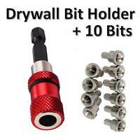 """DRYWALL BIT HOLDER 10x DRYWALL SCREWDRIVER BITS 1//4 /"""" Hex Drill Plasterboard"""