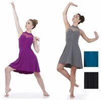 BALANCE Lyrical Dance Costume Dress Ballet Black & Teal Child L, XL, Adult 2XL