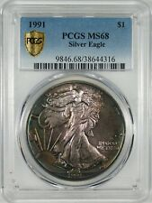 1991 Silver Eagle Coin PCGS MS68  **Colorful Toning**
