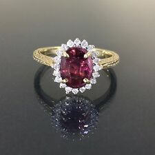 Estate 14k Yellow gold Natural untreated Ruby & Diamond Cluster Oval ring 1.55ct