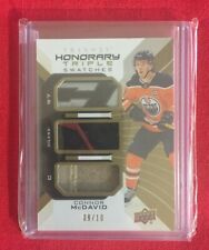 2019-20 UD Trilogy HONORARY TRIPLE SWATCHES Connor McDavid Oilers GAME-USED #/10