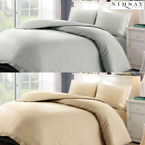 Luxury 100% Egyptian Cotton Sateen Satin Embroidered Duvet Cover Pillowcase Set