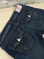 True Religion Joey Boot Cut Jeans Womens Sz 29 (30 x 33.5) Distressed Denim Blue