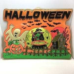 Halloween Window Display Sign 3D Witch Couldron Ghost Pumpkin Advance