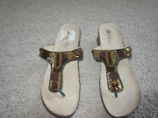 Beaded Jeweled Thong Wedge Sandals in Navy $65.00 Orig WHITE MOUNTAIN Pretty
