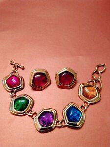 Stunning KJL For Avon Book Pieces Capriate Bracelet & Earrings 5 colors