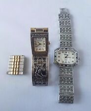 Vintage Watches Lot of 2 For Parts + Extra Band Links Eikon Versailles Gilded