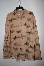 Columbia River Lodge Brown Pheasant Print Long Sleeve Button Front Shirt Men XL