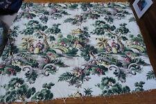 1930's Vintage Bark Cloth Fabric Oriental Asian Tree Bridge 100% Cotton Spectrum