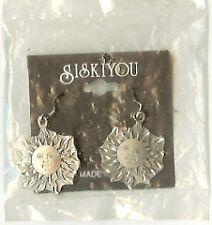 Smiling Sun  Diamond Cut Pewter Earrings New Lic US