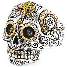 BIG MEXICAN SUGAR SKULL GOLD CROSS SUNFLOWER STERLING 925 SILVER RING Sz 14.25
