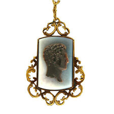 Vintage 1890s English 12k Rose Gold Carved Hardstone Cameo 27 In Dangle Necklace
