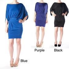 Maitai Tabeez Women's Elastic waist Draped Cutout Dolman Dress Purple Medium