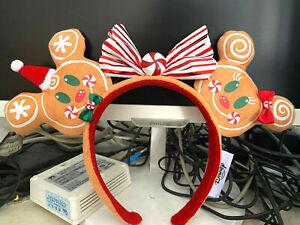 2020 Disney Parks Christmas Ears Headband Gingerbread Minnie & Mickey Mouse