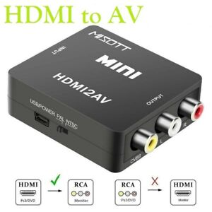 HDMI to 3 RCA CVBS Full HD Video 1080P AV Scart Composite Converter Adapter