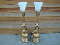 Vintage Pair Stiffel Lily Lotus Mid Century Gold Hollywood Regency Table Lamps