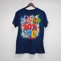 Walt Disney World Florida 2011 XL Blue T-Shirt Mickey Mouse Goofy Donald Pluto