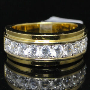 Mens Thick Bold Round Silitaire Stone Wedding Anniversary Ring Band Sterling 925