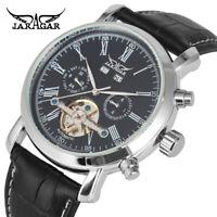 Luxury JARAGAR Skeleton Calendar Automatic Mechanical Leather Mens Wrist Watch