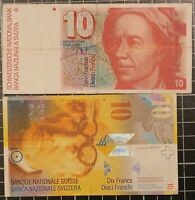 SWITZERLAND 10 Swiss Franc Bank Notes Lot of 2 notes Euler Chandigarh Currency