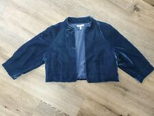Metro 7 Open Velvet Cropped Blazer SZ 4 Jacket 3/4 Sleeve
