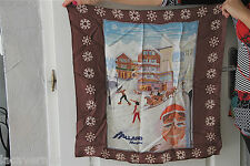 joli foulard en soie marron AALLARD DE MEGÈVE 65 cms X 65 cms COLLECTOR val 135€
