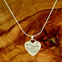 """Heart """" two hearts one love """" Necklace Sterling Silver Pendant 20"""" Snake Chain"""