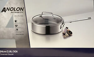 Anolon Authority Multi Ply 24cm Covered Saute Pan Professional Stainless Steel